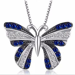 Created Blue Spinal Butterfly Necklace 100000930